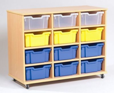 Aztec Triple 4 High Deep Tray Storage With Beech Carcass And Coloured Drawers