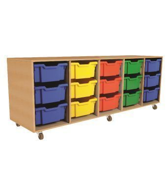 Mobile Aztec Quintet 3 High Deep Tray Storage With Beech Carcass