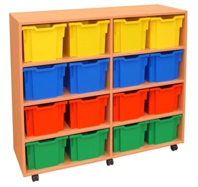 Modern Mobile Jumbo Storage Unit With Coloured Drawers