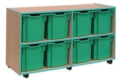 Mobile Coloured Edge 8 Jumbo Tray Storage Unit With Green Trim And Drawers