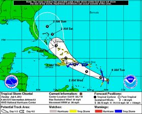 Chantal heads for Caribbean islands