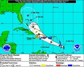 Chantal heads for Caribbean islands