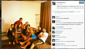 Football stars go bananas for Alves