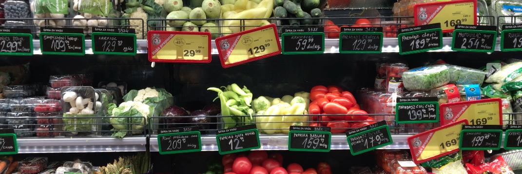 Serbian supermarket shelves