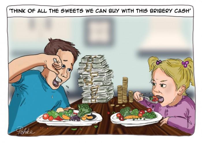 cartoon on kids eating veg for money