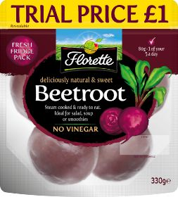 Florette launches 'no mess' beetroot pouches
