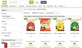 Fruit and veg crisps listed at Ocado