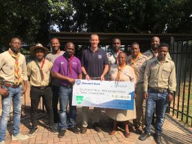 Halls donates £1k to South African Scouts