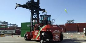 Electric handlers operating at Port of LA