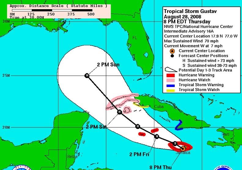 Hurricane Gustav hits Caribbean crops