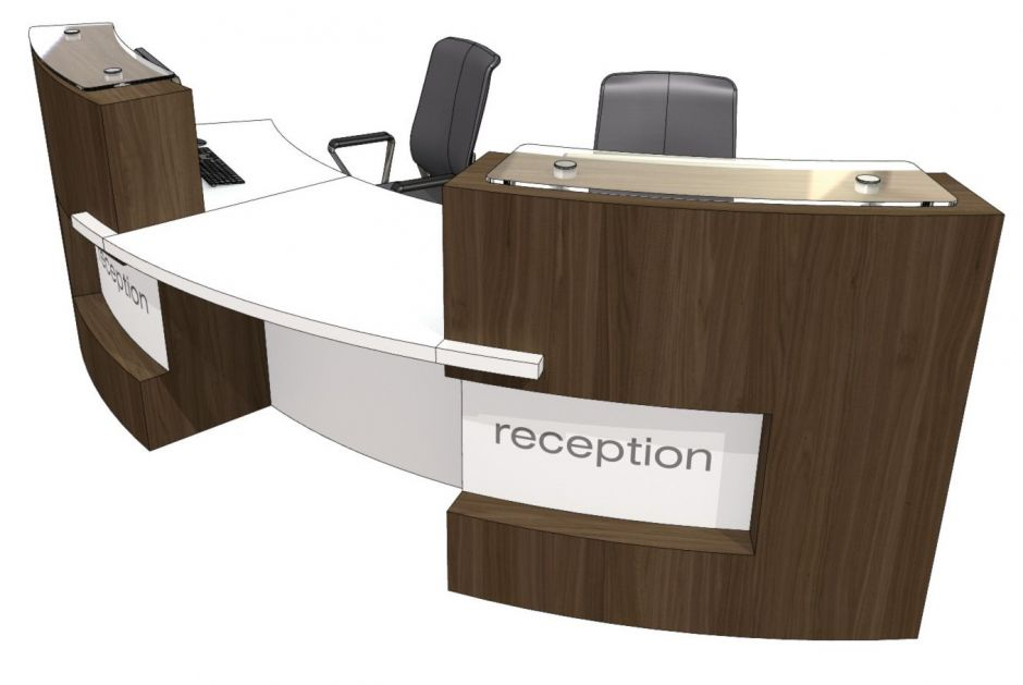 Two person curved reception desk evo xpression office Desk for two persons