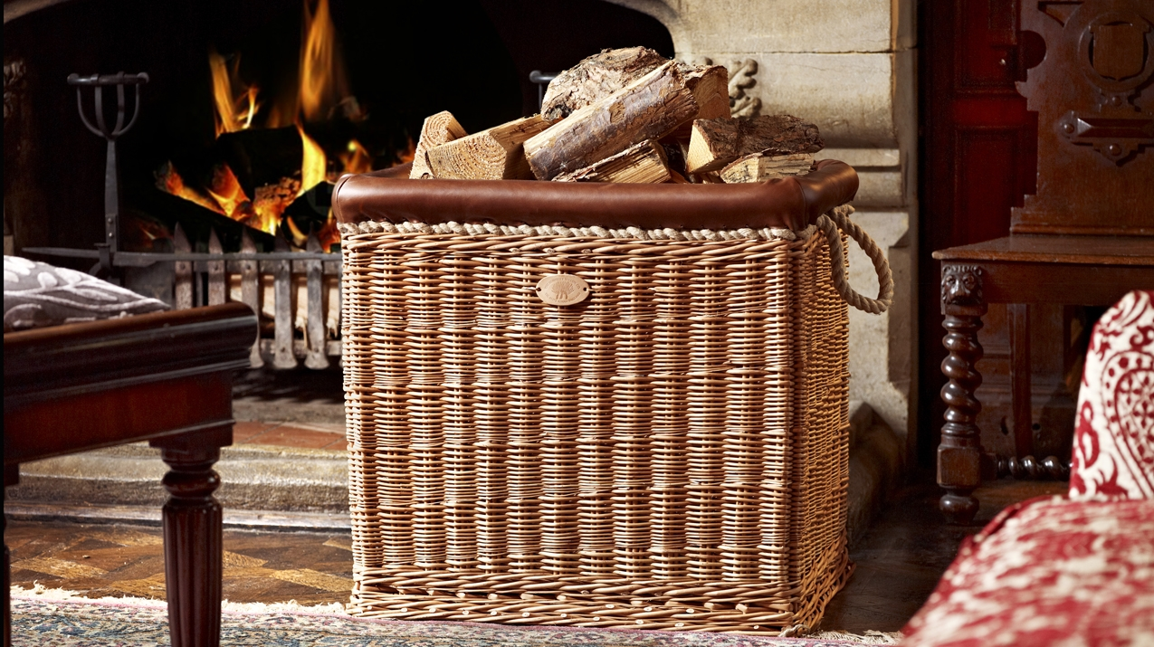 Luxury Willow and Leather Log Baskets