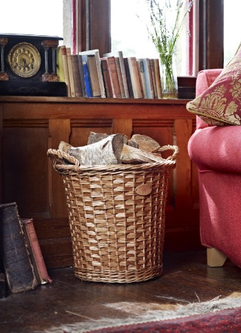 Round Log Basket With Woven Handles