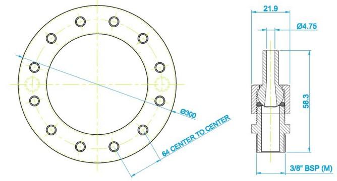300mm Spray Ring & Nozzle