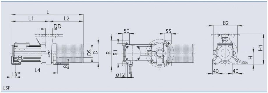 OASE USP Pump Dimensions