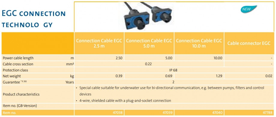 EGC Connection Cables Technical Data