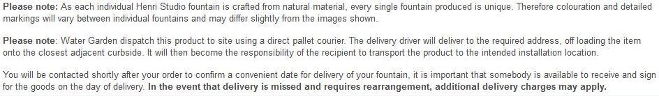 Henri Delivery Info