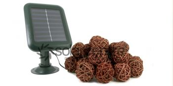 Rattan Ball Solar String Lights - Set of 20