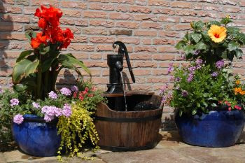 Wooden barrel water fountain