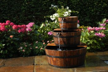 Wooden triple barrel water cascade