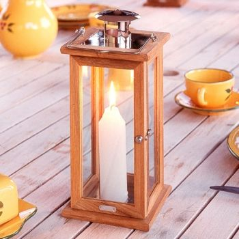 Manilla Teak Candle Lantern (28cm Tall)