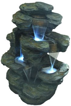 Slate Crag Water Cascade with LED Lights