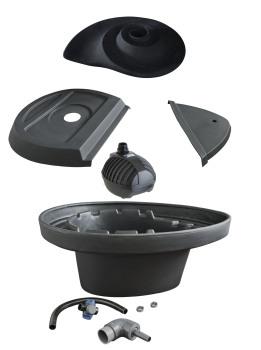 Swirler Radial Water Sculpture - Black